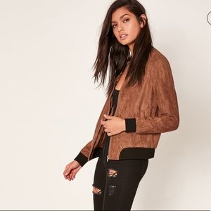 Missguided Faux Suede Bomber Jacket